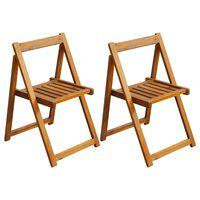 vidaXL Zložljivi jedilni stoli 2 kosa trden akacijev les