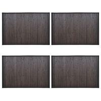 vidaXL Kopalniške preproge iz bambusa 4 kosi 60x90 cm temno rjave