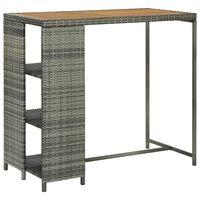 vidaXL Barska miza s stojalom za shranjevanje siva 120x60x110 cm