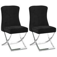 vidaXL Jedilni stoli 2 kosa črni 53x52x98 cm žamet in nerjaveče jeklo