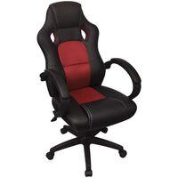 vidaXL Direktorski dirkalni pisarniški stol rdeče umetno usnje
