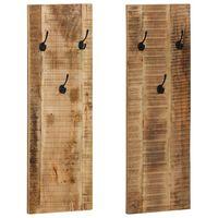 vidaXL Stenski obešalnik za plašče 2 kosa trden mangov les 36x110x3 cm