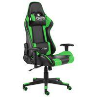 vidaXL Vrtljiv gaming stol zelen PVC