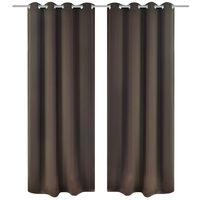 vidaXL Zatemnitvene zavese 2 kosa z obročki 135x175 cm rjave barve