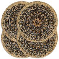vidaXL Pogrinjki 4 kosi temno modri 38 cm okrogli iz jute