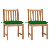 vidaXL Vrtni stoli 2 kosa z blazinami trdna tikovina