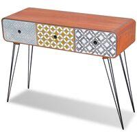 vidaXL Konzolna mizica s 3 predali rjave barve