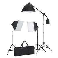 vidaXL Komplet za osvetlitev: 3 svetilke s stojalom in mehčalom