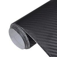 Folia za avto karbonska vlakna vinil 3D črna 152 x 200 cm