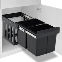 vidaXL Kuhinjski izvlečni koš za smeti s počasnim zapiranjem 36 L
