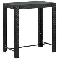 vidaXL Vrtna barska miza črna 100x60,5x110,5 cm poli ratan