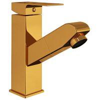 vidaXL Kopalniška armatura za umivalnik izvlečna zlata 157x172 mm
