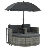 vidaXL Vrtni kavč dvosed z blazinami in senčnikom siv poli ratan