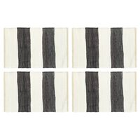 vidaXL Pogrinjki 4 kosi Chindi črte antracit in beli 30x45 cm