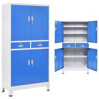 vidaXL Pisarniška omara s 4 vrati kovinska 90x40x180 cm siva in modra