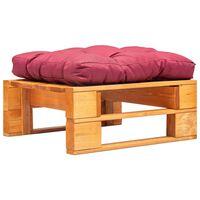 vidaXL Vrtni tabure iz palet z rdečo blazino medeno rjav lesen