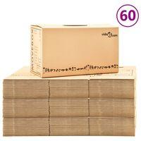 vidaXL Kartonske škatle XXL 60 kosov 60x33x34 cm