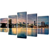 Set platen s printom reke in Brooklynskega mostu 100 x 50 cm