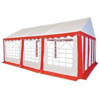 vidaXL Vrtni šotor PVC 3x6 m rdeče in bele barve