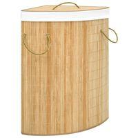 vidaXL Kotna košara za perilo iz bambusa 60 L