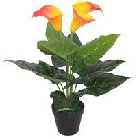 vidaXL Umetna rastlina kala lilija v loncu 45 cm rdeča in rumena
