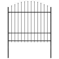 vidaXL Vrtna ograja s koničastimi vrhovi jeklo (1,5-1,75)x1,7 m črna