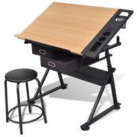 Nagnjena risalna miza s stolom in dvema predaloma