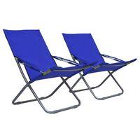 vidaXL Zložljivi stoli za na plažo 2 kosa iz blaga modri