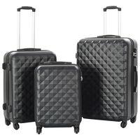 vidaXL Trdi potovalni kovčki 3 kosi črni ABS