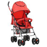 vidaXL Zložljiv otroški voziček 2 v 1 rdeč jeklen