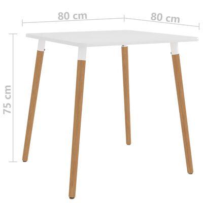vidaXL Jedilna miza bela 80x80x75 cm kovinska