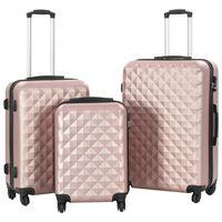 vidaXL Trdi potovalni kovčki 3 kosi rožnato zlati ABS