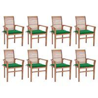 vidaXL Jedilni stoli 8 kosov z zelenimi blazinami trdna tikovina