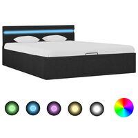 vidaXL Dvižni posteljni okvir LED temno sivo blago 140x200 cm