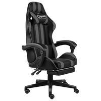 vidaXL Racing stol z oporo za noge črno in sivo umetno usnje