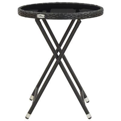 vidaXL Čajna mizica črna 60 cm poli ratan in kaljeno steklo