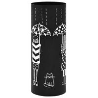vidaXL Stojalo za dežnike z ženskim motivom iz jekla črne barve