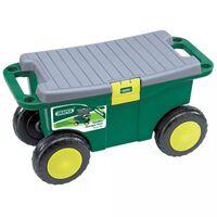 Draper Tools Voziček za vrtno orodje in sedež 56x27,2x30,4 cm zelen