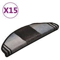 vidaXL Samolepilne preproge za stopnice 15 kos. črne in sive 65x21x4cm
