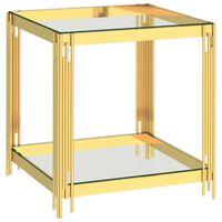 vidaXL Klubska mizica zlata 55x55x55 cm nerjaveče jeklo in steklo