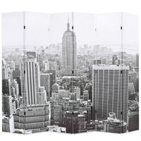 vidaXL Zložljiv paravan 228x170 cm New York podnevi črn in bel