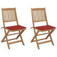 vidaXL Zložljivi vrtni stoli 2 kosa z blazinami trden akacijev les