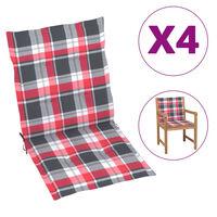 vidaXL Blazine za vrtne stole 4 kosi rdeč karo vzorec 100x50x4 cm