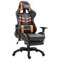 vidaXL Gaming stol z oporo za noge oranžno umetno usnje