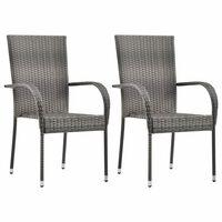 vidaXL Zunanji jedilni stoli 2 kosa sivi poli ratan