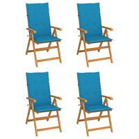 vidaXL Vrtni stoli 4 kosi z modrimi blazinami trdna tikovina