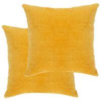 vidaXL Blazine iz bombažnega žameta 2 kosa 45x45 cm rumene