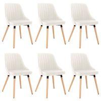vidaXL Jedilni stoli 6 kosov krem žamet