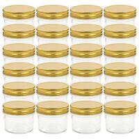 vidaXL Stekleni kozarci z zlatimi pokrovi 24 kosov 110 ml
