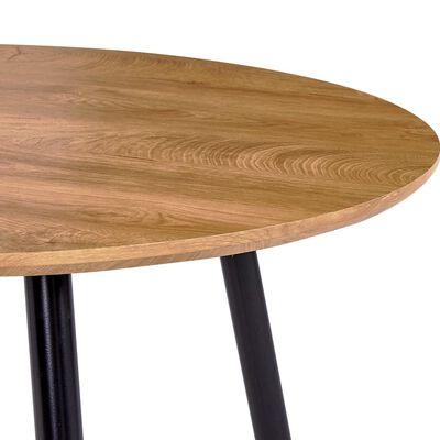 vidaXL Jedilna miza barva hrasta in črna 90x73,5 cm mediapan
